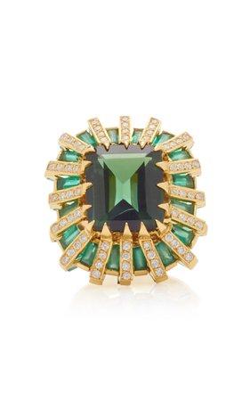 Carol Kauffmann 18K Gold, Tourmaline, Sapphire and Diamond Ring Size: