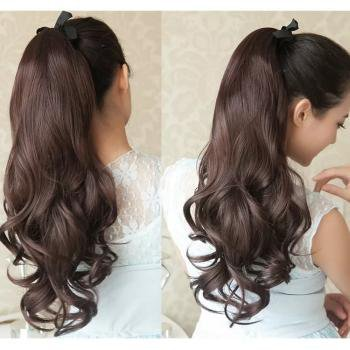 Long Curly Wavy Ponytail.
