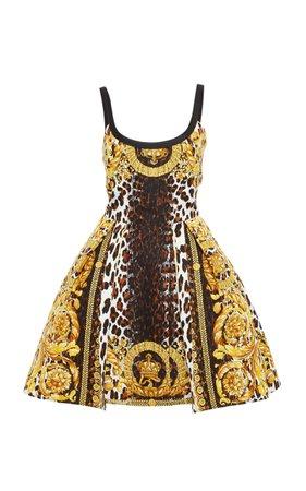 Versace Flounced Printed Dress