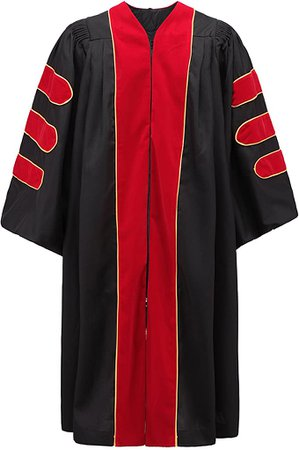 Amazon.com: Annhiengrad Unisex Deluxe Doctoral Graduation Gown with Gold Piping, Black Fabric and Red Velve, 60: Clothing