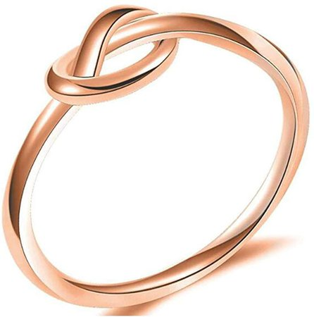 Amazon.com: Size 3-13 Stainless Steel Simple Love Knot Celtic Promise Anniversary Statement Ring (Rose Gold, 4): Clothing