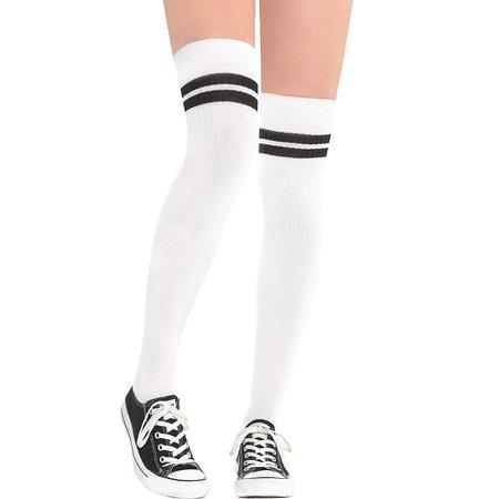 white knee high socks with ONE black stripe - Google Search
