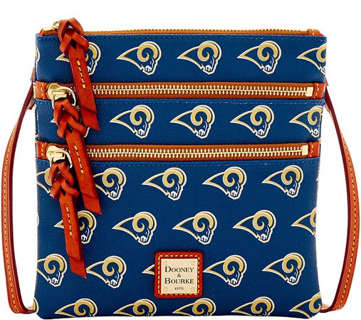 Dooney & Bourke NFL Rams Triple Zip Crossbody — QVC.com