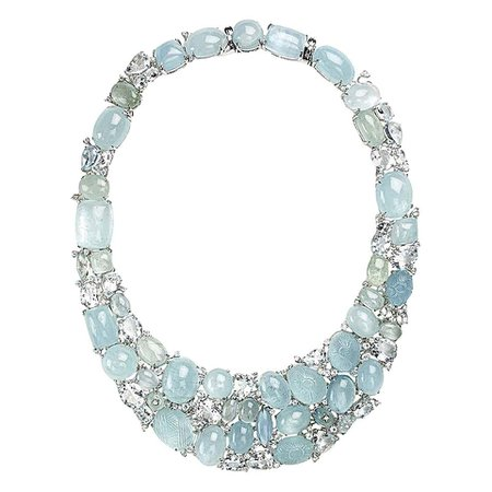 Aquamarine Diamond Gold Necklace For Sale at 1stDibs
