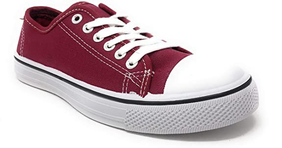 Amazon.com | Charles Albert Women's Classic Canvas Lace-Up Low-Top Sneaker in Red Size: 8 | Fashion Sneakers