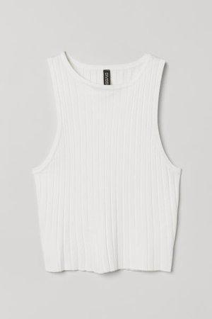 Crop Tank Top - White - Ladies | H&M US