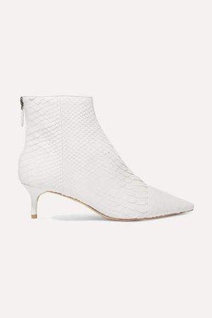 Kittie Python Ankle Boots - White