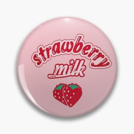 strawberry milk pin button