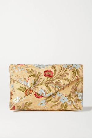 Gold Floral-jacquard clutch | Dries Van Noten | NET-A-PORTER