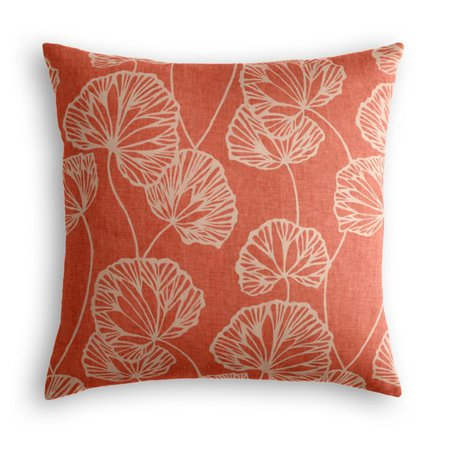 Coral Red Fan Leaf Pillow | Loom Decor
