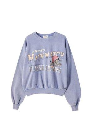 Kontrast sloganlı mavi sweatshirt