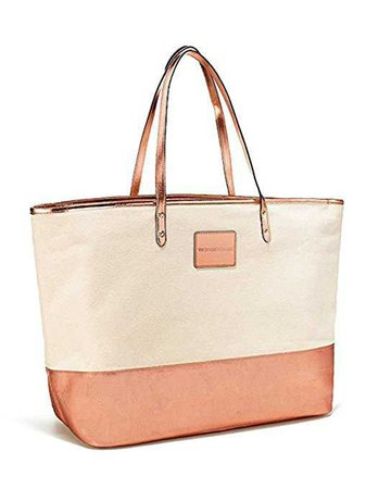 Amazon.com: Victoria's Secret Double Strap Canvas Tote Bag Rose Gold: Baby