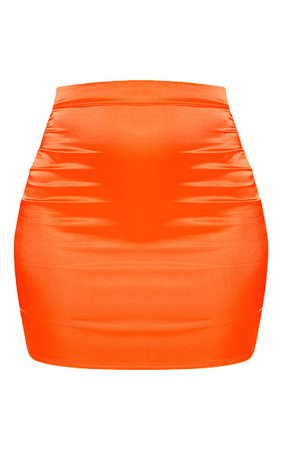 *clipped by @luci-her* Neon Orange Satin High Waisted Mini Skirt | PrettyLittleThing USA