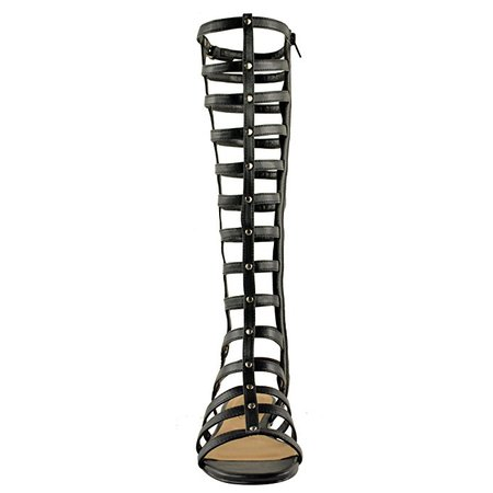 LADIES WOMENS CUT OUT GLADIATOR SANDALS FLAT KNEE BOOTS STRAPPY SIZE: Amazon.co.uk: Shoes & Bags