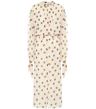 Zahara polka-dot chiffon dress