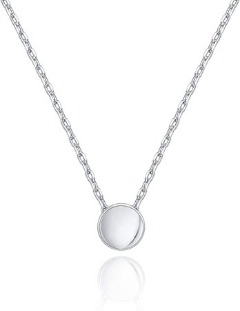 Amazon.com: PAVOI 14K White Gold Plated Tiny Dot Necklace Round Circle Pendant Necklace | White Gold Necklaces for Women: Jewelry