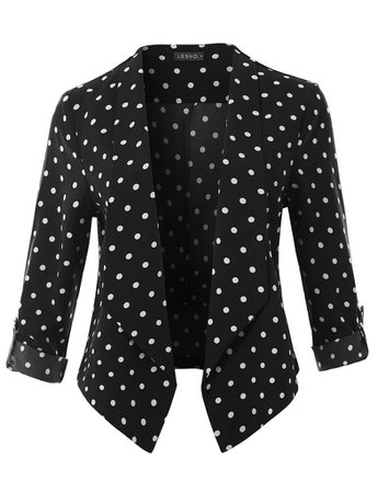 LE3NO Womens Polka Dot Print Open Front 3/4 Sleeve Blazer With Adjustable Sleeves | LE3NO black