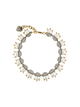Neutral Gucci Spike-Embellished Pearl Necklace | Farfetch.com