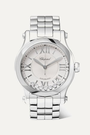 Chopard | Happy Sport Automatic 36mm stainless steel and diamond watch | NET-A-PORTER.COM