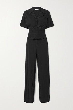 Park Belted Crepe Jumpsuit - Black