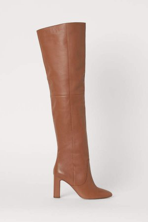 Leather Thigh-high Boots - Beige