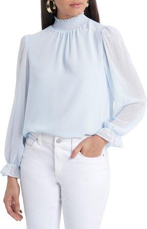 Smocked Neck Long Sleeve Blouse
