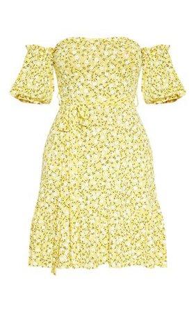Yellow Ditsy Print Bardot Frill Hem Skater Dress | PrettyLittleThing