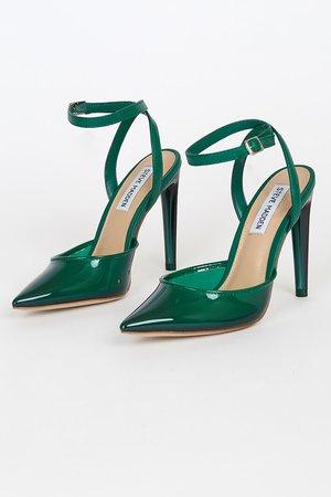 Steve Madden Alessi Green - Pointed-Toe Heels - Vinyl High Heels - Lulus