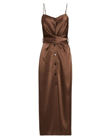 Nanushka Sayan Satin Sleeveless Midi Dress | INTERMIX®