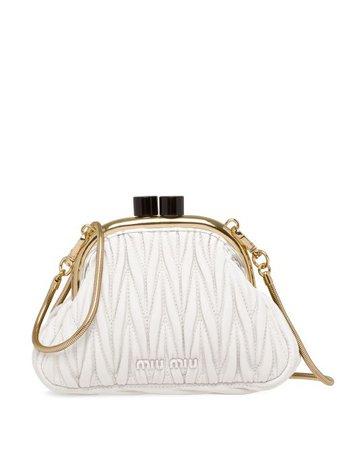 Shop white Miu Miu matelassé mini bag with Express Delivery - Farfetch