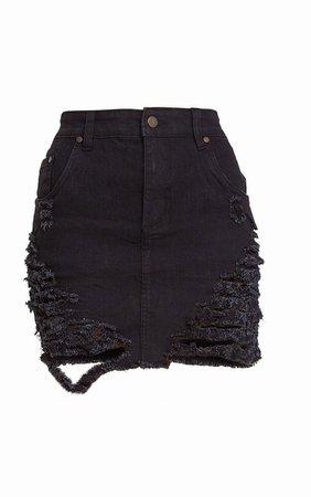 distressed black denim mini skirt
