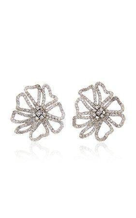 Pavé-Crystal Flower Earrings by Oscar de la Renta | Moda Operandi