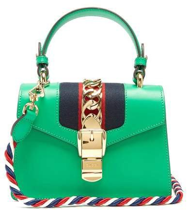 Sylvie Mini Leather Shoulder Bag - Womens - Green
