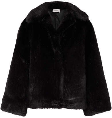 Châtel Oversized Faux Fur Jacket - Black