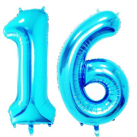 Amazon.com: 40 in Big Sweet 16 Number Balloons Jumbo Number 16 Balloons for Sweet 16 Birthday Decorations by AZOWA (Silver, 40 in): Home & Kitchen