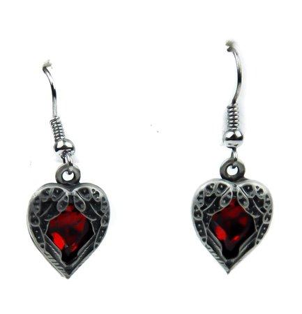 Fallen Dark Angel Wings & Red Heart Gothic Earrings Cosplay Jewelry – Dysfunctional Doll