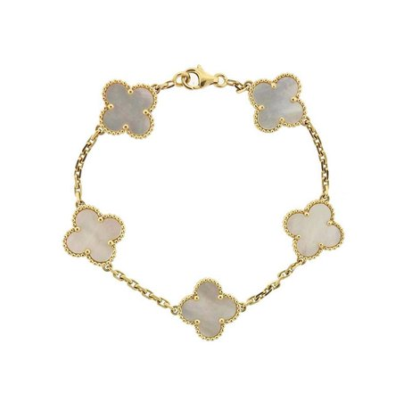 Van Cleef and Arpels Vintage Alhambra Gold Mother of Pearl 5 Motif Bracelet