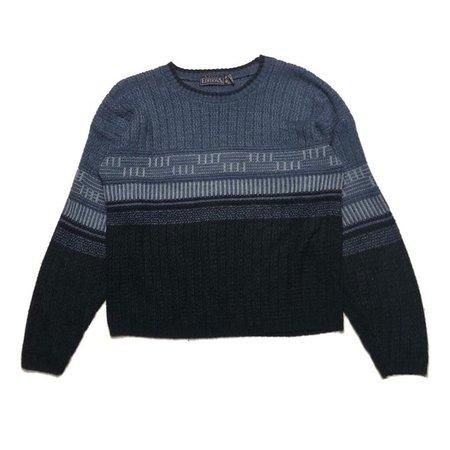 90s vintage blue tone stripe pattern knit sweater Way cute - Depop
