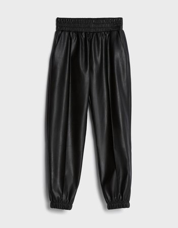 Faux leather joggers - Pants - Woman | Bershka