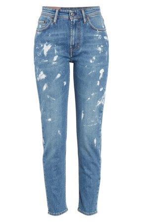 Acne Studios Paint Splatter Jeans (Mid Blue) | Nordstrom