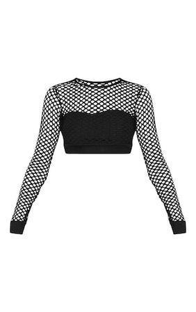 Black Fishnet Long Sleeve Crop Top | PrettyLittleThing