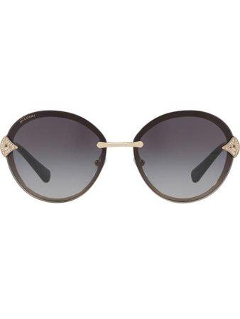 Bulgari crystal embellished round frame sunglasses - Shop Online. Same Day Delivery in London