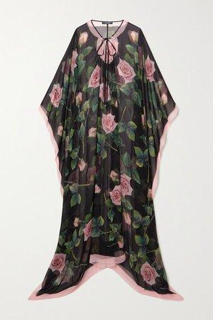 Floral-print Silk-chiffon Dress - Black