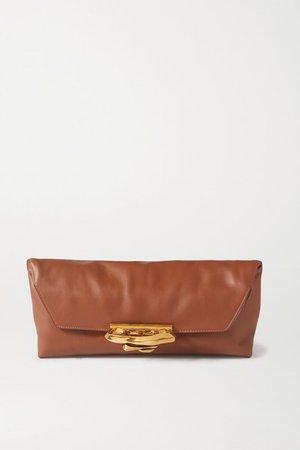 Sculptural Leather Clutch - Tan
