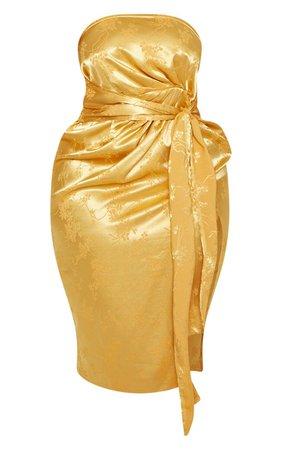 Plus White Satin Jacquard Tie Waist Midi Dress | PrettyLittleThing USA