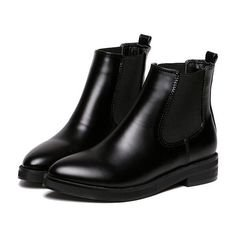 Black Chunky Heel Point Toe PU Boots (2.705 RUB) ❤ liked on Polyvore featuring shoes, boots, ankle booties, botas, ankle boots, обувь, chunky heel booties, short black boots, pointed toe ankle boots and pointed toe boots