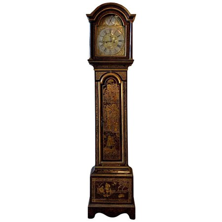Mid-18th Century English Chinoiserie Decorated Tall Case Clock For Sale at 1stdibs
