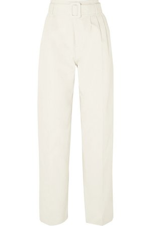 Off-White | Belted cotton straight-leg pants | NET-A-PORTER.COM