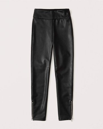Women's Vegan Leather Zip-Ankle Leggings | Women's New Arrivals | Abercrombie.com