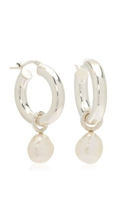 Large Sterling Silver Pearl Hoop Earrings By Wolf Circus   Moda Operandi